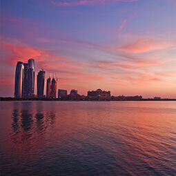 city purple sunset skyscrapers sky water ping romantic view landscape real UGC travel content photography