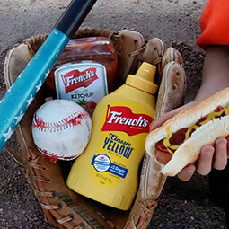 baseball bat glove ball hot-dog food hand UGC content