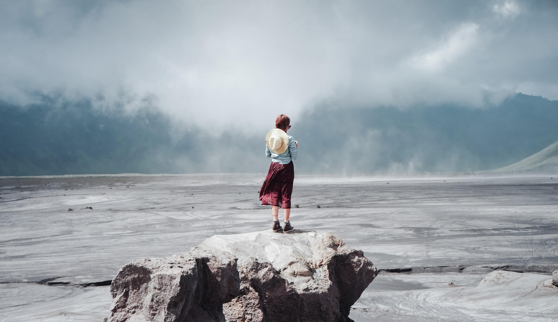 woman grey single alone clouds plain landscape
