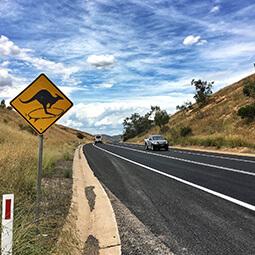 Australia road kangaroo sign car sky clouds UGC travel content photography